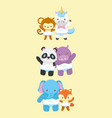 collection animals toy bashower card vector image vector image