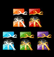 collection colored gift boxes with ribbons vector image