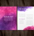 creative watercolor brochure flyer design vector image