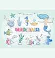 cute mermaid sea characters and plants set vector image