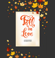 fall in love on dark background vector image vector image