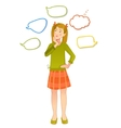 Girl with speech bubbles around