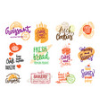 hand drawn bakery logotypes set vector image vector image
