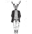 Hand drawn dressed up deer in hipster style vector image vector image