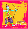 happy dussehra greeting card design with the god vector image vector image