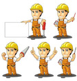 Industrial Construction Worker Mascot 3 vector image vector image