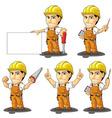 Industrial Construction Worker Mascot 3 vector image vector image