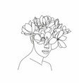 line art woman with flowers head flowers vector image