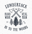 Lumberjack vintage label with two axes and trees vector image vector image