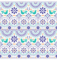 mexican folk art seamless pattern with bird vector image vector image