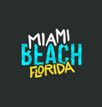miami beach florida summer typographic lettering vector image