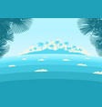 ocean waves and tropical island with palms vector image vector image
