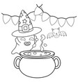 outline pot cauldron and ghost with hat and bat vector image