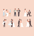 people get married set man in tuxedo and woman vector image