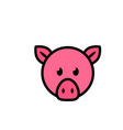pig head flat icon sign symbol vector image vector image