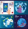 planet earth with covid19 particles set icons vector image vector image