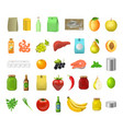 realistic 3d detailed food product icon set vector image vector image