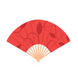 red chinese folding hand fan isolated on white vector image vector image