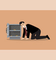sad businessman character near open door safe vector image vector image