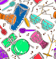 Seamless pattern of drum set vector image vector image