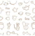 Seamless pattern of tea and coffee objects vector image