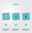 set of coffee icons flat style symbols with iced vector image