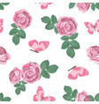 shabchic roses and butterflies seamless pattern vector image vector image
