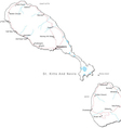 St Kitts and Nevis Black White Map vector image