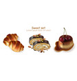 sweet croissants pistachio rolls and panna cotta vector image vector image