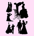 wedding celebration silhouette vector image