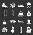 winter icons set grey vector image vector image