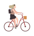 woman riding on bicycle simple character cyclist vector image vector image