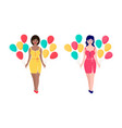 women with colorful balloons vector image