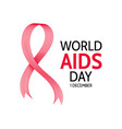 world aids day abstract red ribbon vector image