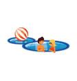 young couple in pool luxury scene vector image