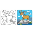 Funny wild urial or ram coloring book vector image