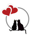 valentines day card with two cats and two hearts vector image