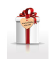 gift box with red ribbon and bow for fathers day vector image