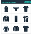 Set of modern icons Shopping menswear T vector image