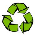 green recycle symbol icon cartoon vector image