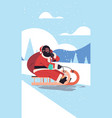 african american santa with mask riding sledge vector image