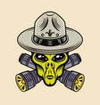 alien boy scout character with two crossed vector image vector image
