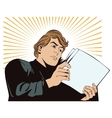 An man reads the documents News and fac vector image vector image
