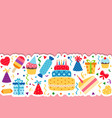 background with birthday icons set background vector image