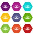 big crown icon set color hexahedron vector image vector image
