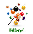billiard pool ball cue poster for snooker design vector image vector image