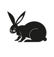 black icon with a hare silhouette with easter vector image vector image