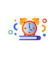 book and alarm clock education concept back to vector image