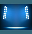 bright spotlights on dark blue background vector image vector image