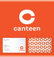 canteen bistro cafe logo c monogram spoon vector image